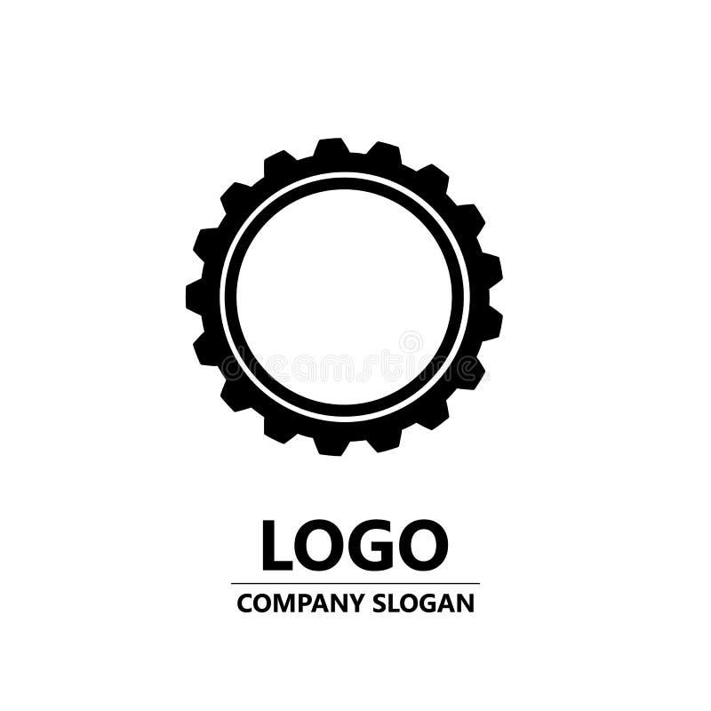 Het ontwerp van het tandradembleem Het vectorpictogram van het toestelwiel Logotype, vector vector illustratie