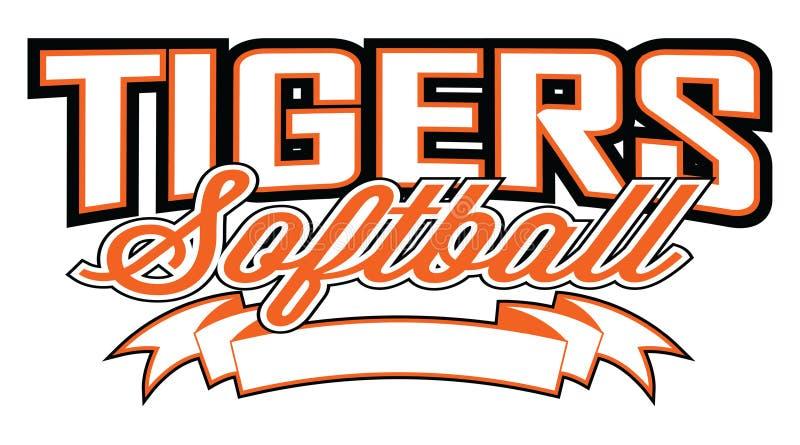 Het Ontwerp van het tijgerssoftball met Banner stock illustratie