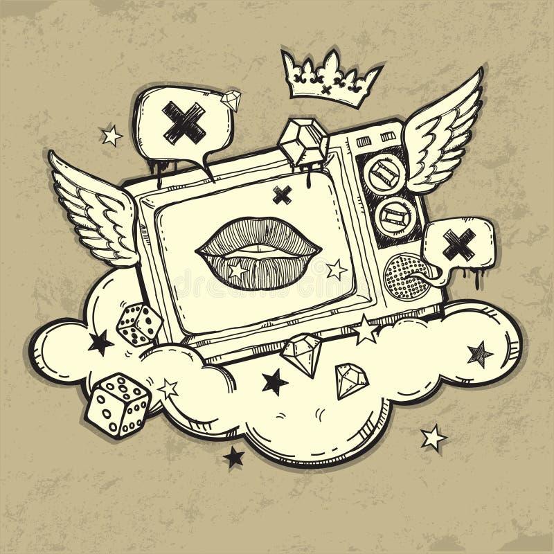 Het ontwerp van TV van Grunge royalty-vrije illustratie