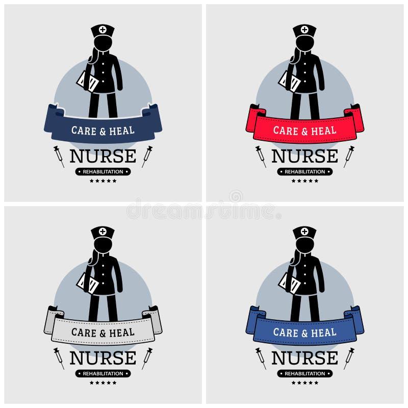 Het ontwerp van het verpleegstersembleem vector illustratie