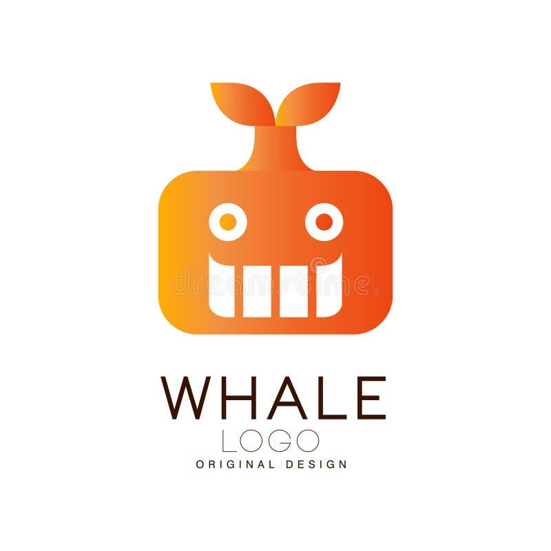 Het ontwerp van het walvisembleem, creatief kenteken met walvis kan voor merkidentiteit, reisbureau worden gebruikt, scheepvaartm stock illustratie