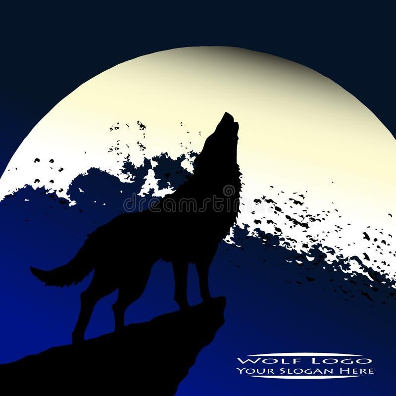 Het ontwerp van het wolfsembleem met maanachtergrond voor uw commercieel embleem of bedrijfpictogram stock foto's