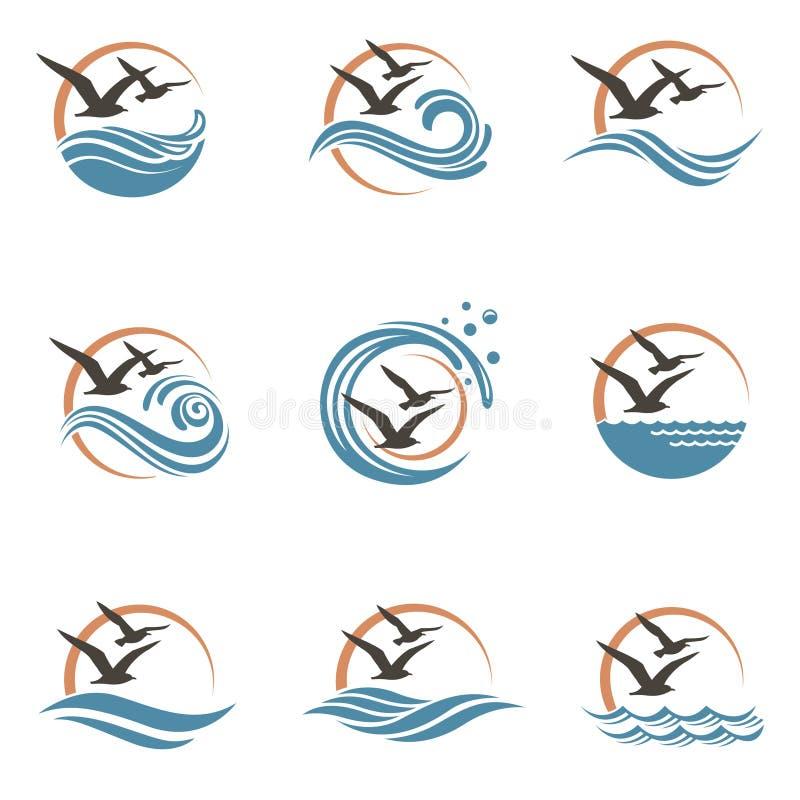 Het ontwerp van het zeemeeuwembleem stock illustratie