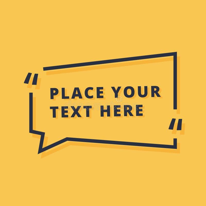 Het ontwerp vectordieillustratie van het tekstkader op gele achtergrond wordt geïsoleerd Dialoogpictogram met placeholder aankond stock illustratie
