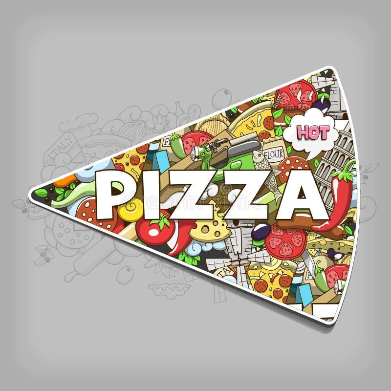 Het ontwerp vectorillustratie van de pizzahand getrokken titel royalty-vrije illustratie