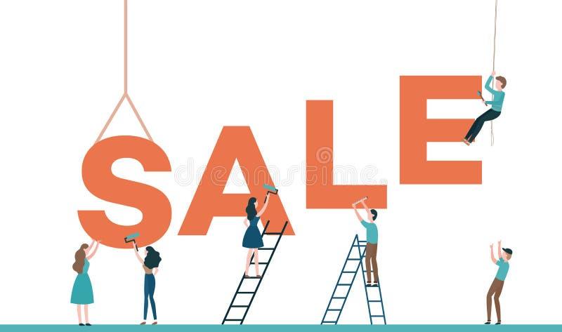 Het ontwerp vectorillustratie van de verkooptekst met bouwers die die woord construeren op witte achtergrond wordt geïsoleerd royalty-vrije illustratie