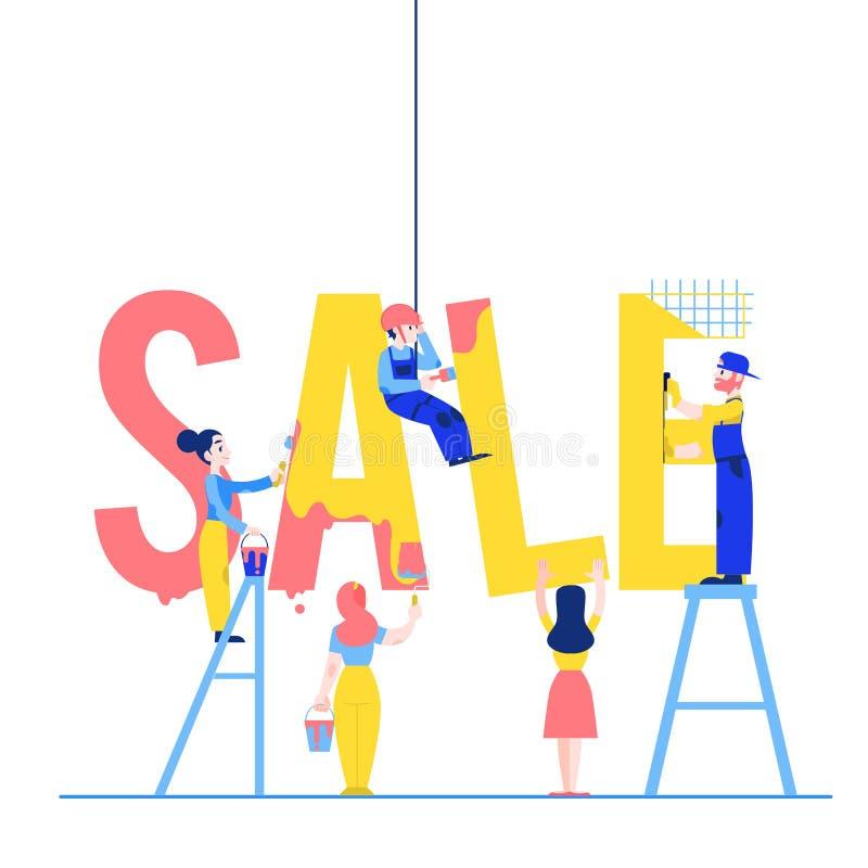 Het ontwerp vectorillustratie van de verkooptekst met mannen en vrouwen die en groot woord construeren schilderen vector illustratie