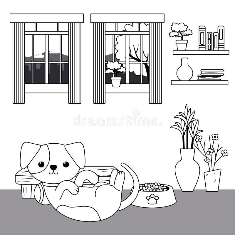 Het ontwerp vectorillustrator van het hondbeeldverhaal royalty-vrije illustratie
