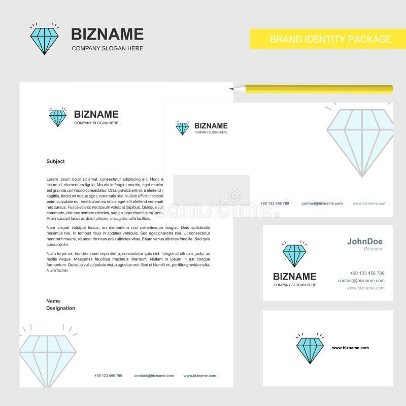 Het Ontwerp vectormalplaatje van Diamond Business Letterhead, van de Envelop en van het visitekaartje vector illustratie