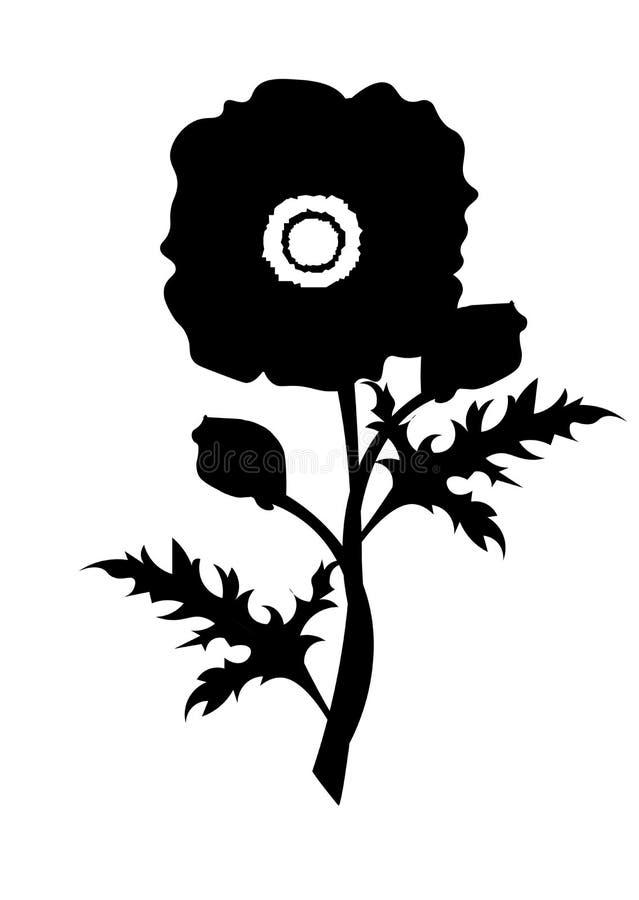 Het ontwerp vectormalplaatje van het papaverembleem stock illustratie