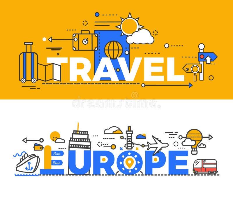 Het Ontwerp Vlak Concept van reiseuropa stock illustratie