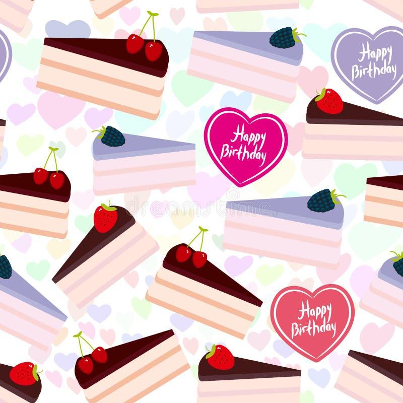 Het ontwerp Zoete die cake van het verjaardags naadloze patroon met verse bes, roze room en chocoladesuikerglazuur wordt verfraai stock illustratie