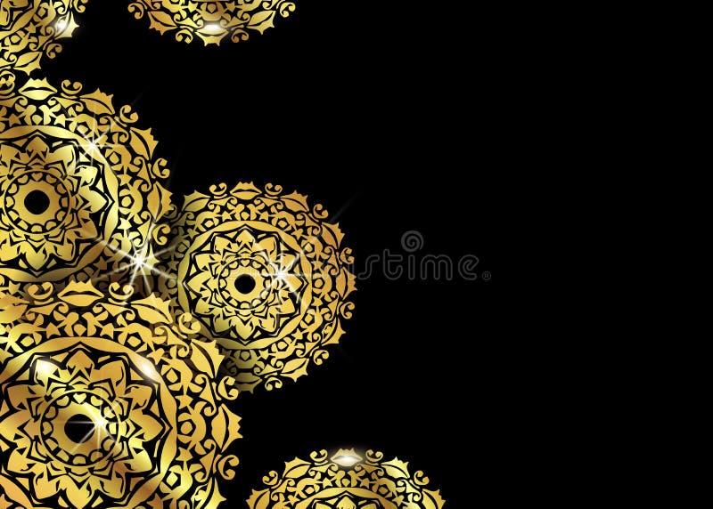 Het ontwerpachtergrond van luxe siermandala in gouden kleur Vectorontwerpmalplaatjes Adreskaartje met bloemencirkelornament vector illustratie