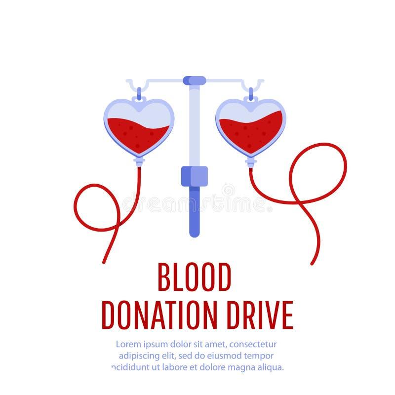 Het ontwerpaffiche van de bloeddonatieaandrijving stock illustratie
