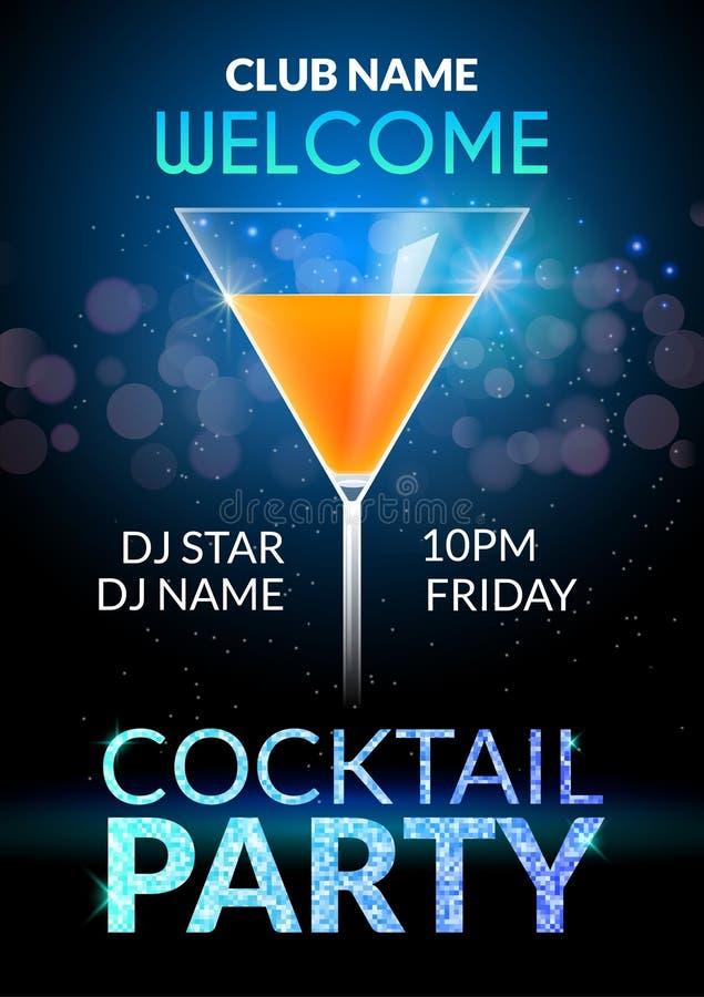 Het ontwerpaffiche van de cocktailuitnodiging Van de de bannerkaart of vlieger van de cocktail partydrank malplaatjevector royalty-vrije illustratie