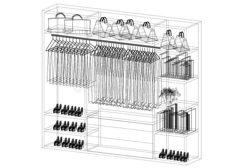 Het ontwerparchitect geïsoleerd Blueprint van de kastorganisator - royalty-vrije illustratie