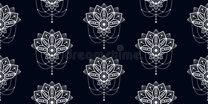 Het ontwerpbloem van Mehendimandala met het hangen van illustratie van het hangende details de vector naadloze patroon vector illustratie