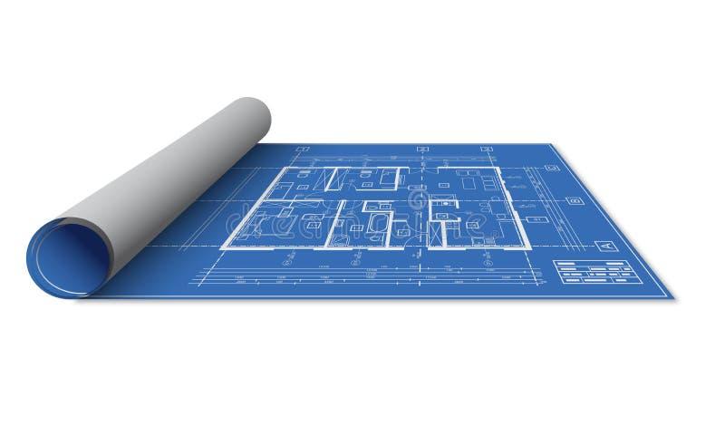 Het ontwerpbroodje van het blauwdrukhuis stock illustratie