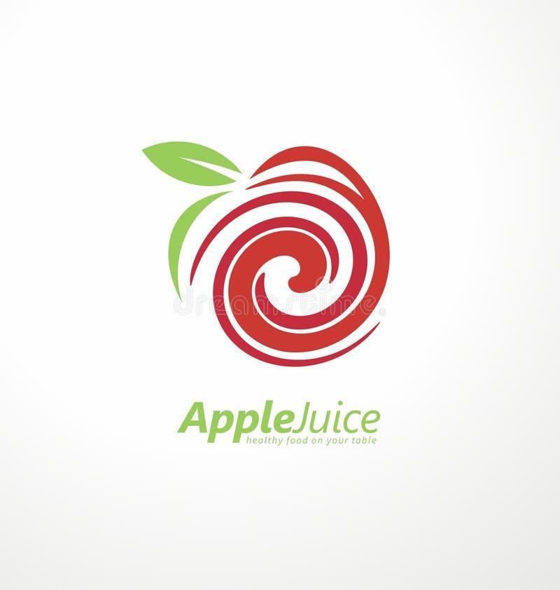 Het ontwerpconcept van het appelsapembleem royalty-vrije illustratie