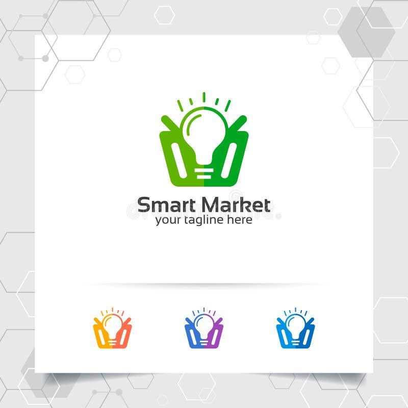 Het ontwerpconcept van het boodschappenwagentjeembleem online van de winkelpictogram en bol vector die voor handelaar, e-commerce vector illustratie