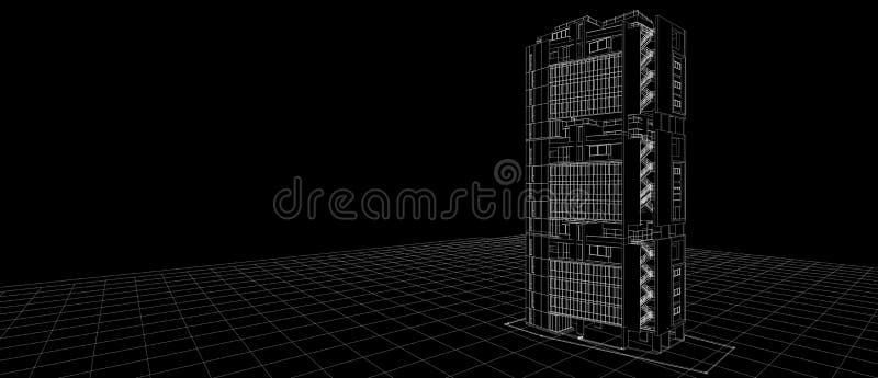 Het ontwerpconcept van de architectuur buitenvoorgevel 3d wit de draadkader die van het de bouwperspectief zwarte achtergrond ter vector illustratie