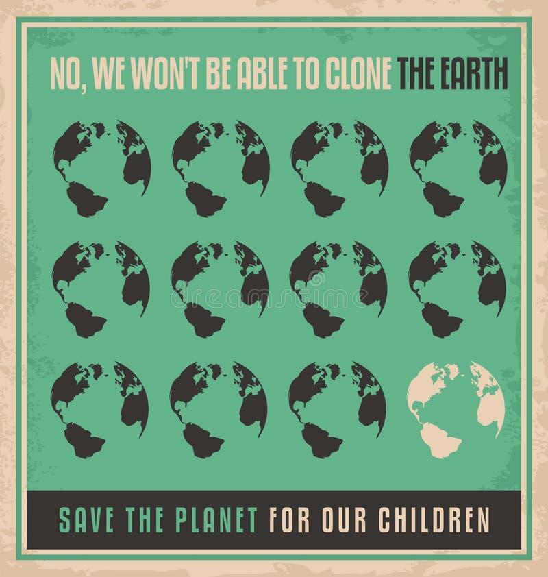 Het ontwerpconcept van de ecologie retro affiche royalty-vrije illustratie