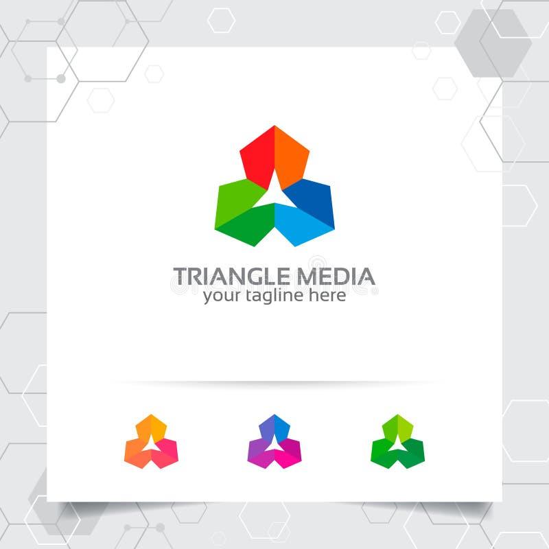 Het ontwerpconcept van het driehoeksembleem het element van het pijlsymbool, abstract driehoeks vectorembleem dat voor financiën, stock illustratie