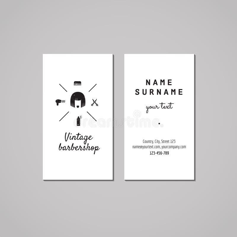 Het ontwerpconcept van het herenkapperadreskaartje Herenkapperembleem met de vrouw van het loodjeshaar Wijnoogst, hipster en retr royalty-vrije illustratie