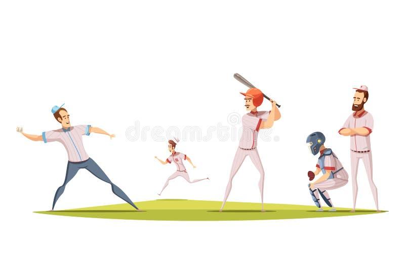 Het Ontwerpconcept van honkbalspelers vector illustratie