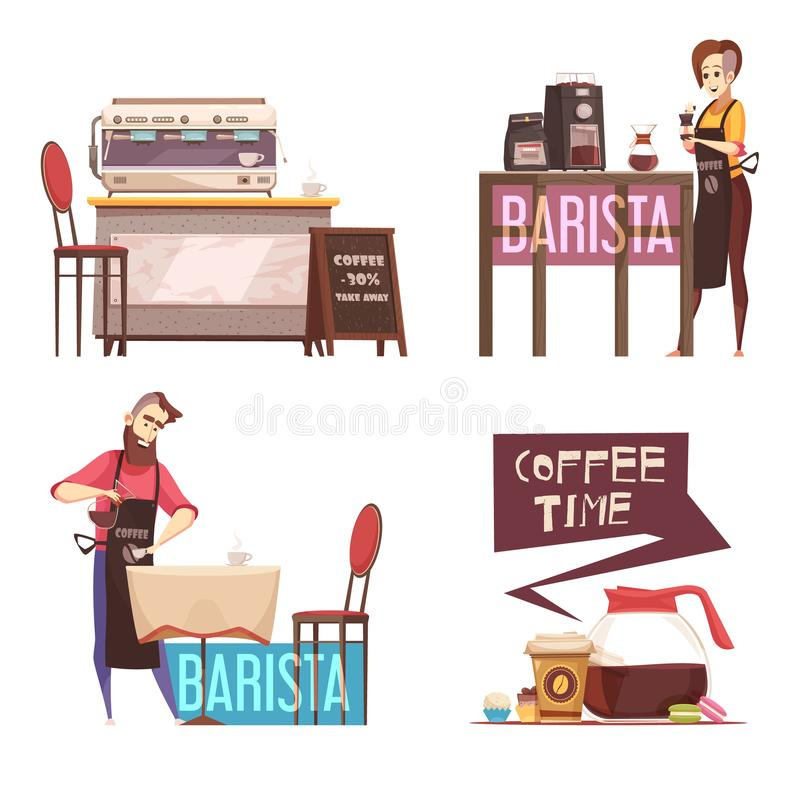 Het Ontwerpconcept van het koffiehuis 2x2 vector illustratie