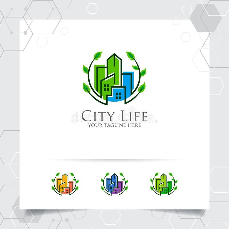Het ontwerpconcept van het onroerende goederenembleem groene stad de bouwillustratie De vector van het bezitsembleem voor bouw, c stock illustratie
