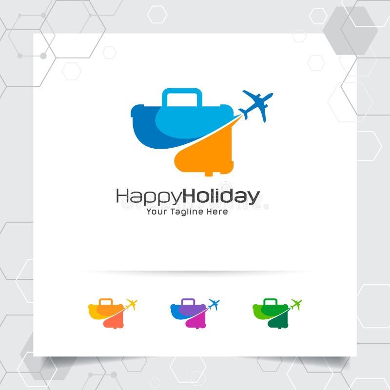 Het ontwerpconcept van het reisembleem vliegtuigpictogram met koffersymbool Reizende embleemvector voor wereldreis, avontuur, en  stock illustratie