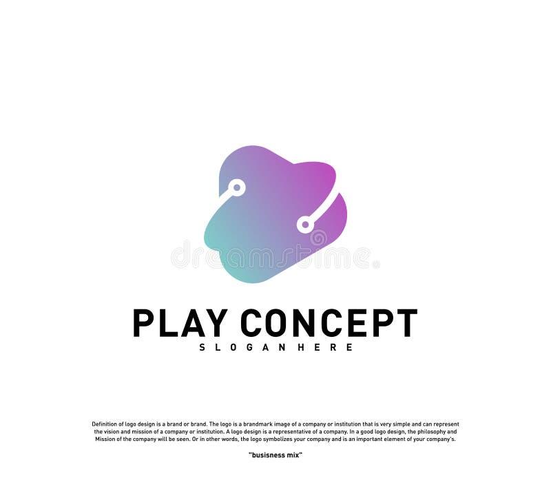 Het ontwerpconcept van het spelembleem De vector van het het embleemmalplaatje van het planeetspel Pictogramsymbool vector illustratie