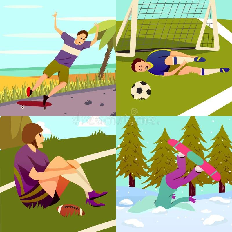 Het Ontwerpconcept van sportverwondingen royalty-vrije illustratie