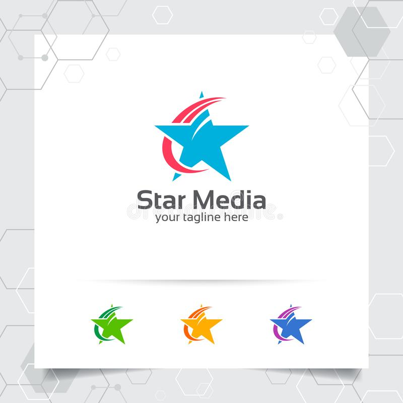 Het ontwerpconcept van het sterembleem het element van het pijlsymbool, abstract ster vectorembleem dat voor financi?n, boekhoudi royalty-vrije illustratie