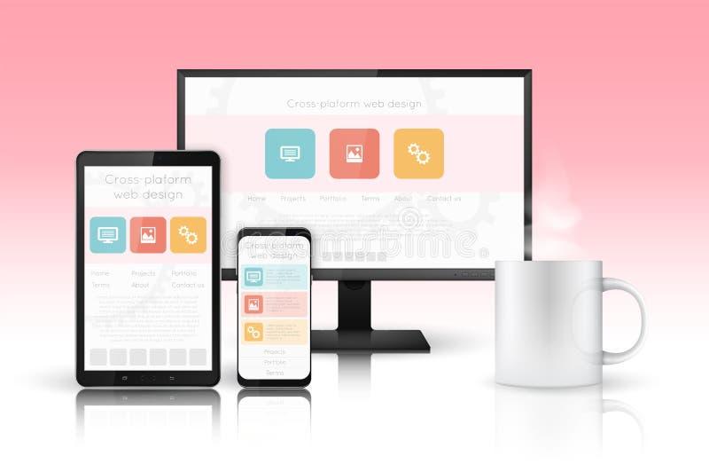 Het ontwerpconcept van het Web Websiteontwikkeling voor moderne apparaten stock illustratie
