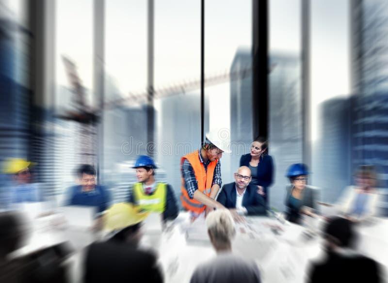 Het Ontwerpconcept van Working Office Meeting van de architecteningenieur stock fotografie