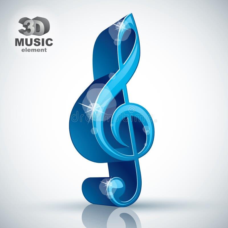 Het ontwerpelement van de g-sleutel 3d blauw muziek, vectorillustratie vector illustratie