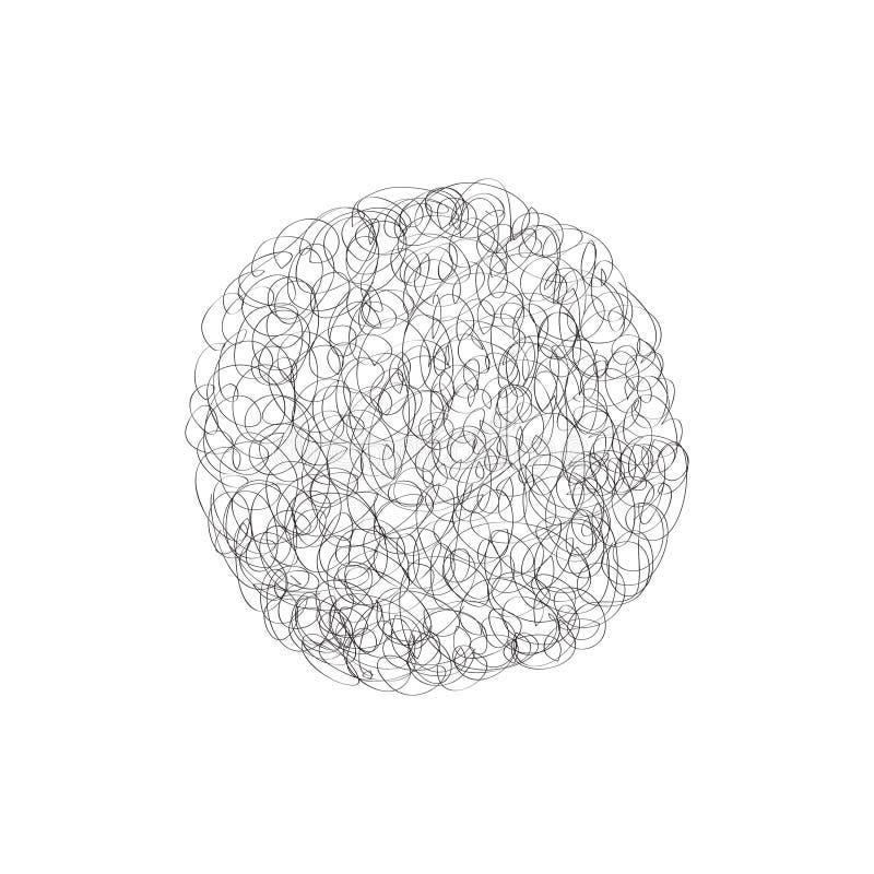 Het ontwerpelement van het cirkelembleem De chaotische wolk van het lijngekrabbel stock illustratie