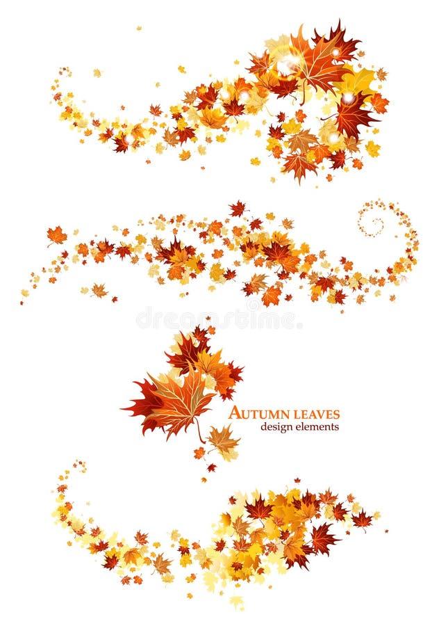 Het ontwerpelementen van de herfstbladeren royalty-vrije illustratie