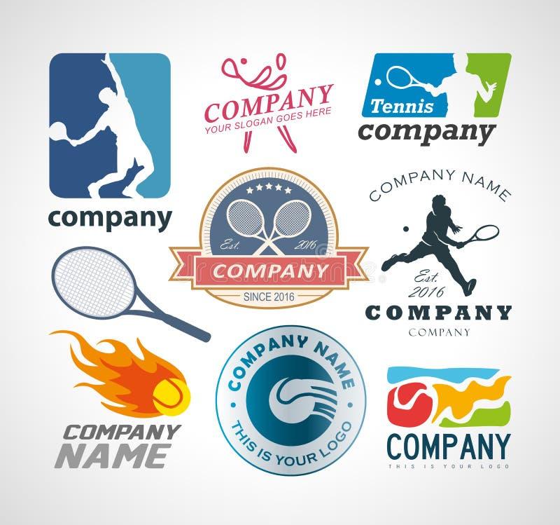 Het ontwerpelementen van het tennisembleem vector illustratie