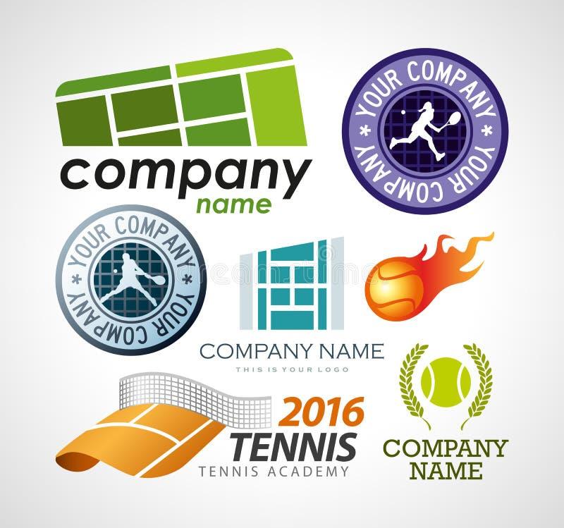 Het ontwerpelementen van het tennisembleem stock illustratie