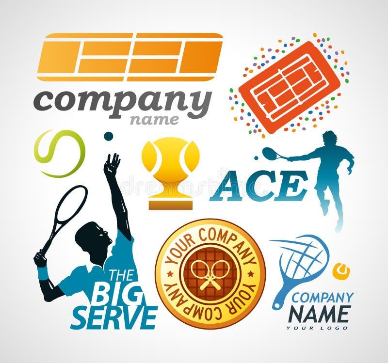 Het ontwerpelementen van het tennisembleem royalty-vrije illustratie