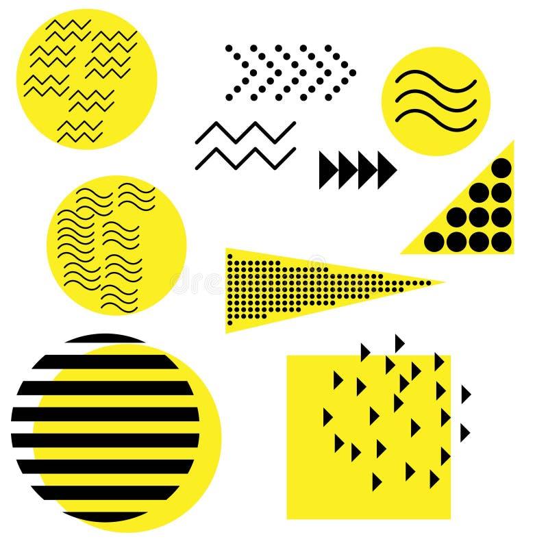 Het ontwerpelementen van Memphis Retro van funky grafische, ontwerpen jaren '90tendensen en uitstekende geometrische het elemente royalty-vrije illustratie