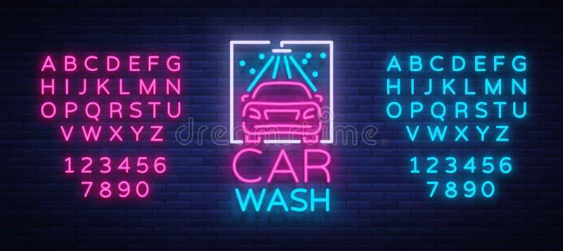 Het ontwerpembleem van het autowasseretteembleem in de vectorillustratie van de neonstijl Malplaatje, concept, lichtgevend teken  royalty-vrije illustratie