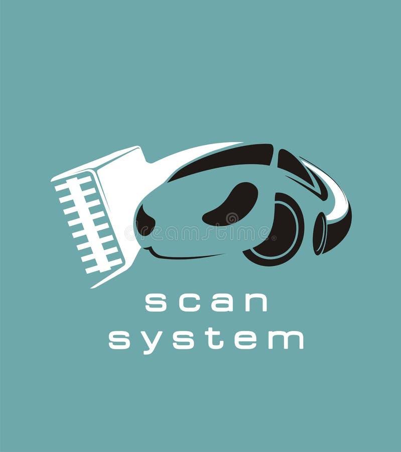 Het ontwerpembleem van de auto kenmerkend dienst Vectorgarage digitaal systeem Het Symbool van de motorreparatie Automobiel teken stock illustratie