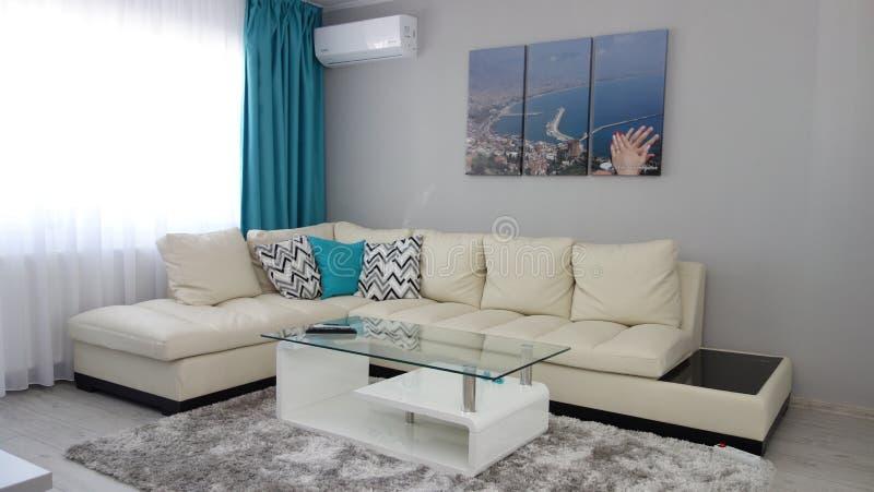 Het ontwerpidee van de flatjewoonkamer, leerlaag, kleedkamer, koffietafel, grijs luxetapijt, moderne parkettextuur, t stock afbeelding