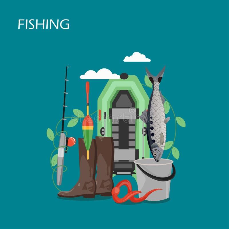 Het ontwerpillustratie van de visserij vastgestelde vector vlakke stijl vector illustratie
