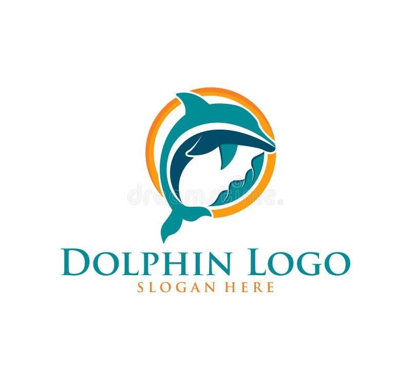 het ontwerpinspiratie van het dolfijn slimme dierlijke vectorembleem vector illustratie
