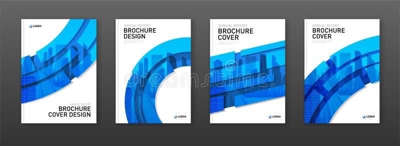 Het ontwerplay-out van de brochuredekking voor zaken en bouw wordt geplaatst die stock afbeeldingen